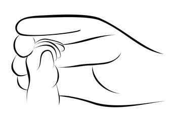 Baby hand holding