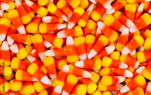 Candy corn for Halloween holiday background