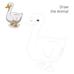 Draw the animal goose educational game vector illustration