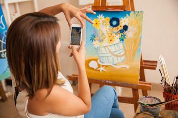 Artist sharing her work online