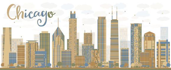 Abstract Chicago skyline with color skyscrapers