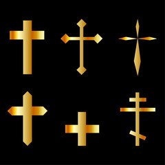 golden christian crosses in different designs