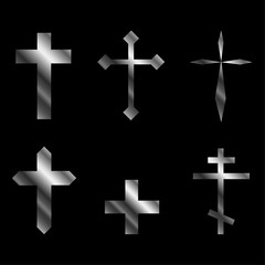 Silver christian crosses in different designs