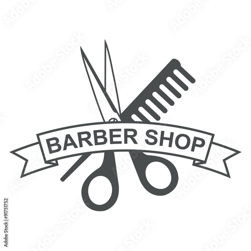 Barber Shop Plano : Icono plano texto BARBER SHOP gris