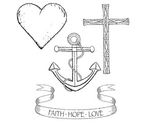 Distressed collection symbols faith hope and love in black and white