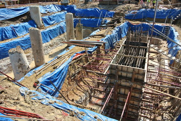 Pile cap formwork and excavated pile