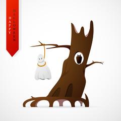 Haloween greeting card cartoon design