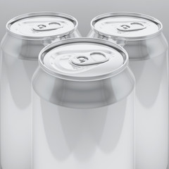 3d rendering aluminium cans on white background