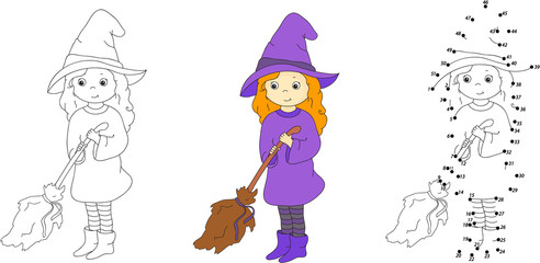 Cute and nice witch with broom. Vector illustration. Coloring an