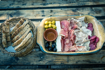 Spanish ham, olives and appetizers