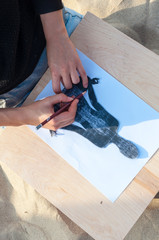 hand drawing a man in the meditation position