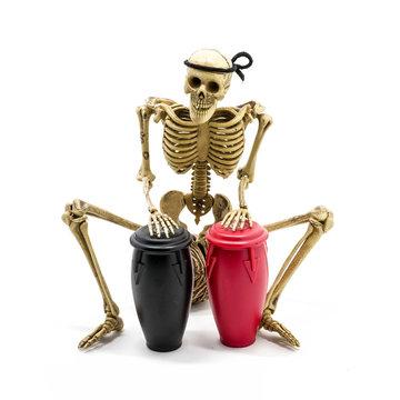 Model skeleton playing congas drum