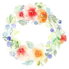 Wreath wedding watercolor. Handmade. Greeting card