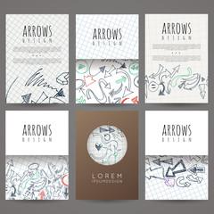 Set of six vector designs of hand-drawn arrow. Cover design