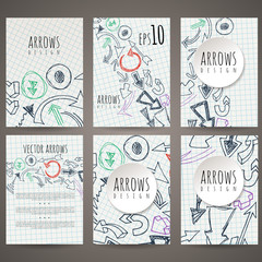 Set of six vector designs of hand-drawn arrow. Cover design