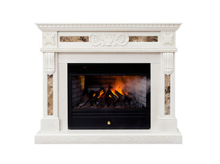 White artificial electronic fireplace