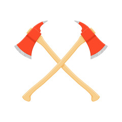 A vector illustration of two crossed axes - Crossed fire axes Icon Illustration Fire Fighting symbol.