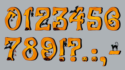 Spooky Halloween Font Number Figures