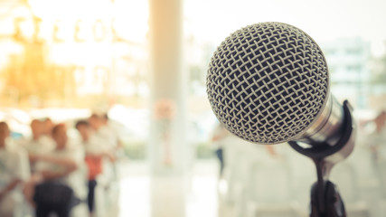 Microphone in seminar event , process in vintage style