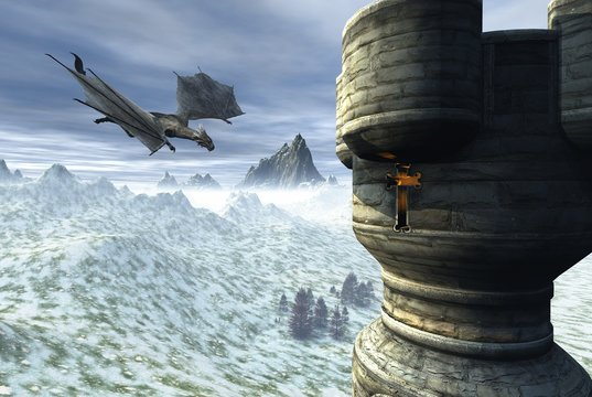 Dragon Tower - Fantasy illustration of a dragon flying towards a lonely tower in a winter landscape, 3d digitally rendered illustration