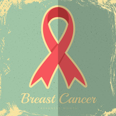 Breast cancer awareness vintage poster with pink ribbon on blue vintage background