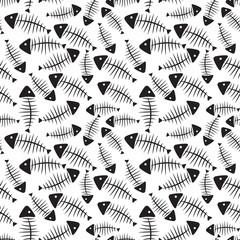 Fish Bone Seamless Pattern Background Vector Illustration