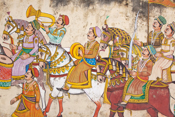 Wall art in the center of Udaipur displaying the level of detail of traditional Indian miniature painting and typical of the genre in Rajasthan