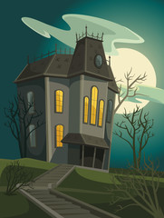 Halloween house. Vector cartoon illustration