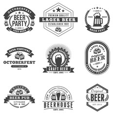 Set of Retro Vintage Beer Badges, Labels, Logos. Black and White Vector Illustration
