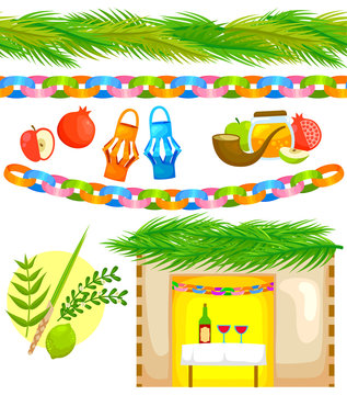 set of elements related to Sukkot (with seamless strips of palm and paper chain)