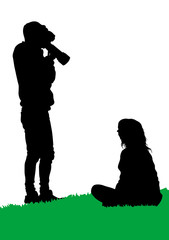 Man and girl with photo camera on white background