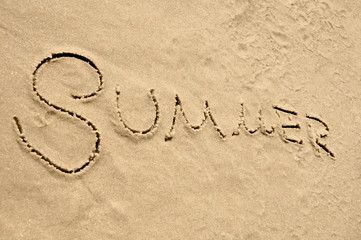 Summer inscription on the sand