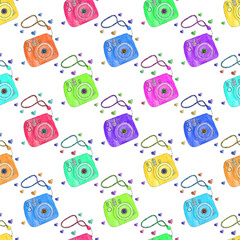 Instant photo camera. Seamless pattern with cameras. Hand-drawn