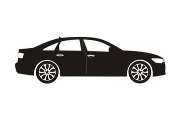 icon car sedan black on the white background