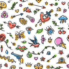 Colorful Funny Old School Tattoo Seamless Pattern