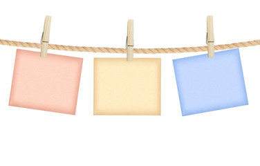 Reminder with clothes peg isolated on white