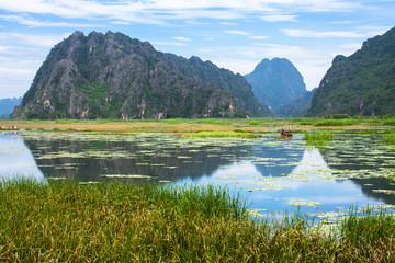 Van Long, Ninh Binh - Famous eco tourim in Vietnam.
