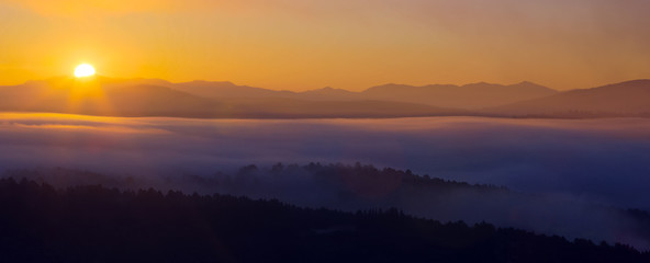 Mountains landscape of Galicia  in  dawn