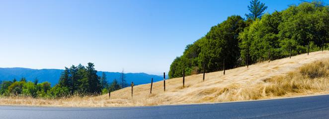 California Drought - Roadside Dry Hills