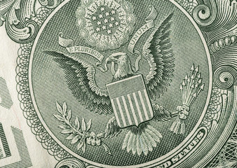 Dollar eagle banknote close up.