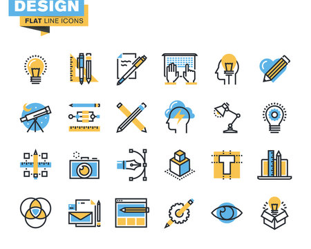 Trendy flat line icon pack. Icons for graphic design, web design , photography, industrial design, branding, corporate identity, stationary, product design, for websites and mobile websites and apps.