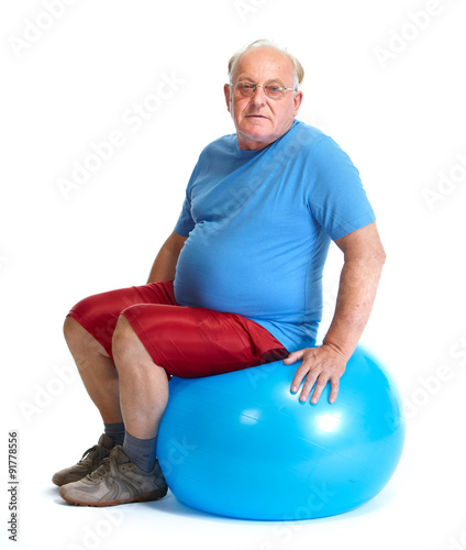"Balance Ball Xxl: ""Elderly Man Sitting On Exercise Ball."" Stock Photo And"