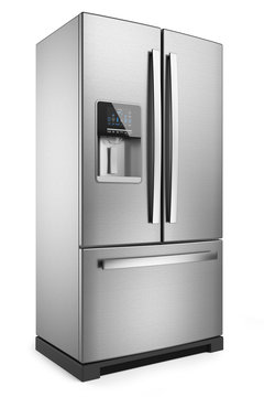 Home refrigerator. Silver home fridge isolated on white backgrou