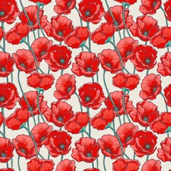 Tuinposter Botanisch Sansa Floral Seamless Pattern