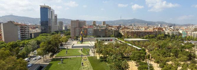 Panoramic view of architecture of Barcelona