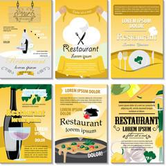 Restaurant Poster Design Set - Vector Illustration