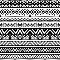 Black and white ethnic mexican tribal stripes seamless pattern