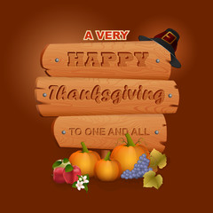 Happy Thanksgiving, graphic background with wooden sign and farmer hat; Holidays, layout, design with carved wood, farmer hat, pumpkins, grapes, apples,vine leaves and flowers for Thanksgiving Da