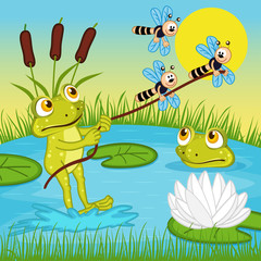 frog ride on the lake - vector illustration, eps