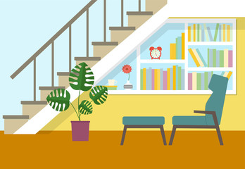 flat place to relax under the stairs.vector illustration
